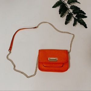 Neiman Marcus Orange chain crossbody purse